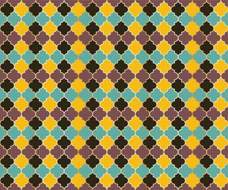 Arabian Mosque Window Vector Seamless Pattern. Ramadan mubarak muslim background. Traditional ramadan mosque pattern with gold grid mosaic. Cool islamic window grid design of lantern shapes tiles. 向量圖像