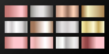 Silver, platinum, bronze, pink gold vector metallic gradients. Badges set. Graphic elements of gold, bronze and silver gradients for award medals or coins design. Illusztráció