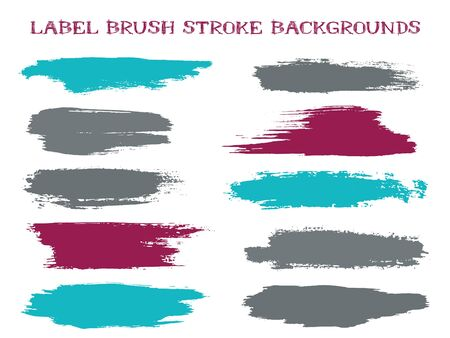 Simple label brush stroke backgrounds, paint or ink smudges vector for tags and stamps design. Painted label backgrounds patch. Interior colors guide book samples. Ink dabs, cyan grey splashes. 向量圖像