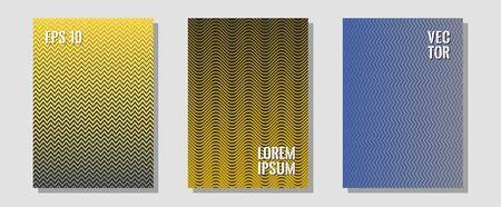 Halftone gradient texture vector cover layouts. Corporate catalogs. Zigzag halftone lines wave stripes backdrops. Divergent maquettes. Multiple lines cool gradient texture backgrounds.