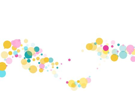 Memphis round confetti creative background in blue, magenta and gold on white.  Childish pattern vector, children's party birthday celebration background.  Holiday confetti circles in memphis style.