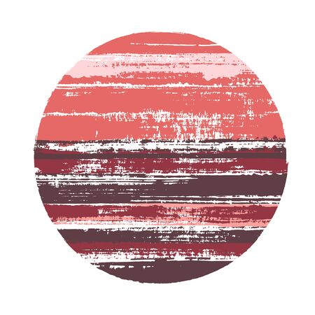 Ragged circle vector geometric shape with stripes texture of paint horizontal lines. Old paint texture disc. Stamp round shape circle logo element with grunge stripes background.