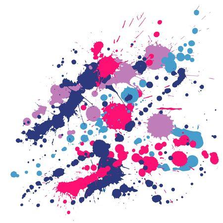 Gouache paint stains grunge background vector. Mottled ink splatter, spray blots, dirty spot elements, wall graffiti. Watercolor paint splashes pattern, smear liquid stains splatter backdrop.