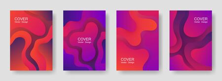 Gradient liquid shapes abstract covers vector collection. 3d banner backgrounds design. Organic bubble fluid splash shapes, oil drop molecular mixture concept backdrop. Cover layouts.