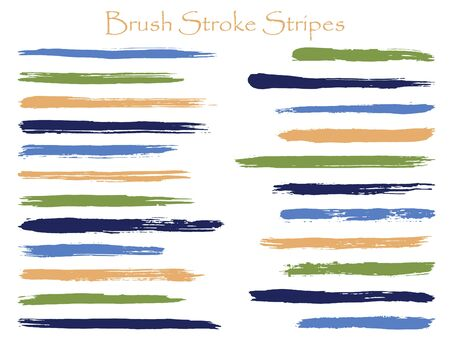 Cool ink brush stroke stripes vector set, green blue horizontal marker or paintbrush lines patch. Hand drawn watercolor paint brushes, smudge strokes collection. Interior paint color palette swatches.