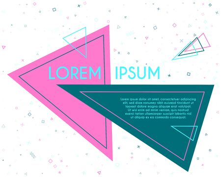 Simple flying triangles geometric banner vector design. Poster or flyer template with geometric confetti - triangles, circles, squares, cross, zigzag shapes. Banner background with text place.