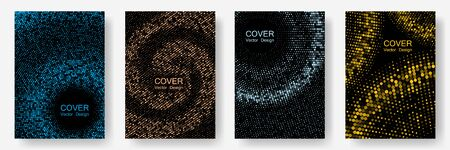 Halftone dots cover page layouts vector design. Banner patterns cool set. Party posters set with radial halftone dots gradient texture. Simplicity geometric design. Retro cover pages.