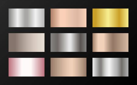 Cool golden, platinum, bronze, pink gold gradients. Metallic foil texture silver, steel, chrome, platinum, copper, bronze, aluminum, rose gold gradient swatches.  Stylish metallic swatches set. 向量圖像