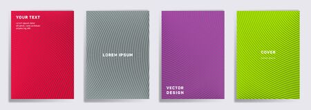 Colorful covers linear design. Radial semicircle geometric lines patterns. Halftone poster, flyer, banner vector backgrounds. Lines texture, header title elements. Annual report covers.