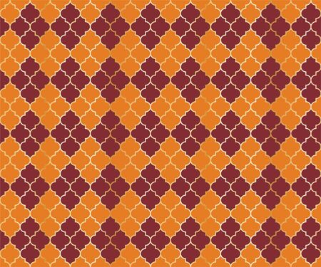 Eastern Mosque Vector Seamless Pattern. Argyle rhombus muslim fabric background. Traditional mosque pattern with gold grid. Trendy islamic argyle seamless design of lantern lattice shape tiles.
