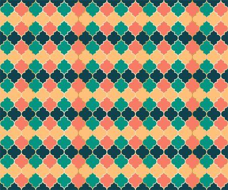 Ottoman Mosque Window Vector Seamless Pattern. Ramadan mubarak muslim background. Traditional ramadan mosque vector pattern with gold grid. Cool islamic window grid design of lantern shapes tiles. 向量圖像