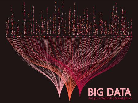 Big data statistical methods visualization concept vector design. 0 and 1 binary code matrix data visualization. Digital analytics statistical information of big number curve lines abstract matrix.