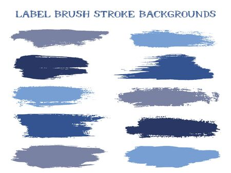 Abstract label brush stroke backgrounds, paint or ink smudges vector for tags and stamps design. Painted label backgrounds patch. Interior paint color palette swatches. Ink dabs, blue splashes.