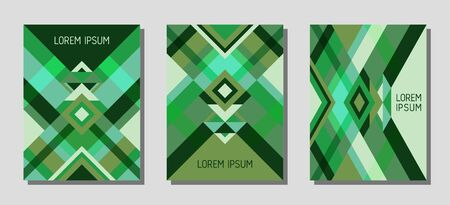Set of cover page layouts, vector templates geometric design with triangles and stripes. Ethnic brazilian motifs. Bauhaus pattern vector covers design. Trendy rhombus stripe triangle shapes.