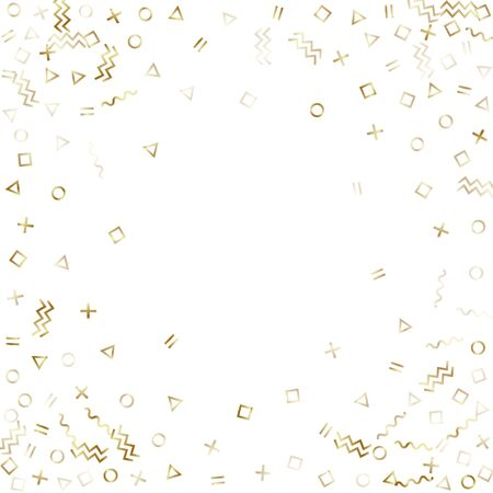 Memphis style gold geometric confetti vector background with triangle, circle, square shapes, chevron and wavy line ribbons. Shiny 80s style memphis gold decor confetti falling on white.
