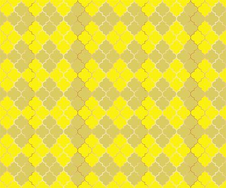 Pakistani Mosque Vector Seamless Pattern. Argyle rhombus muslim fabric background. Traditional mosque pattern with gold grid. Trendy islamic argyle seamless design of lantern lattice shape tiles. Illustration