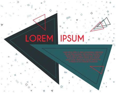 Modern flying triangles geometric banner vector design. Poster or flyer template with geometric confetti - triangles, circles, squares, cross, zigzag shapes. Banner concept with title and text.