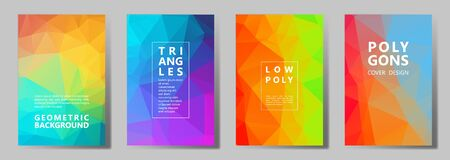 Facet polygonal simple brochure covers vector graphic design set. Diamond texture low poly patterns. Gradient triangle polygons facet geometric abstract backgrounds.