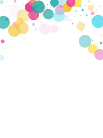 Memphis round confetti falling background in cyan, magenta and gold on white.  Childish pattern vector, childrens party birthday celebration background.  Holiday confetti circles in memphis style.