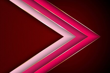 Polygonal arrow with gold triangle edge lines banner vector design. Stylish business background template. 3d advertising graphic design. Gradient facets shapes, stripes gold edges lines vector.