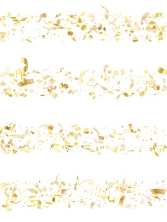 Gold shiny confetti flying on white holiday vector backdrop. Creative flying sparkle elements, gold foil gradient serpentine streamers confetti falling festive background.