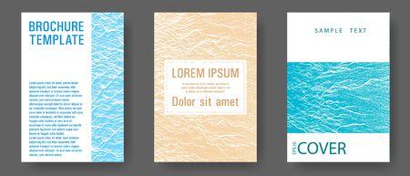 Geometric creative solutions. Blue, sea green, sand color textures. Fluid buzzing wavy noise ripple texture. Illustration