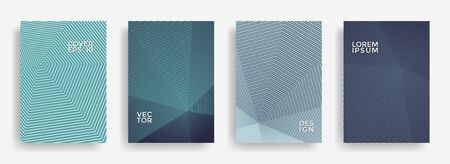 Global annual report design vector collection. Halftone stripes edged texture cover page layout templates set. Report covers geometric design, business brochure pages corporate templates.
