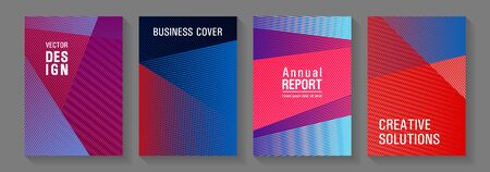 Brochure cover layouts vector geometrics. Scientific journals concept. Technological 2d backdrops. Poster linear minimalistic vectors. Future dynamic covers geometry set.