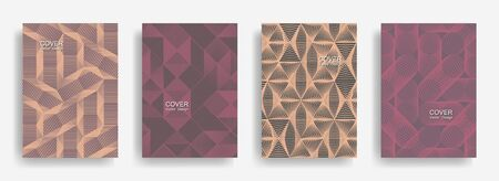 Tech  halftone shapes minimal geometric cover templates collection design. Halftone lines grid vector background of triangle, hexagon, rhombus, circle shapes. Business geometric cover backgrounds.