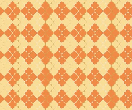 Moroccan Mosque Vector Seamless Pattern. Argyle rhombus muslim fabric background. Traditional mosque pattern with gold grid. Chic islamic argyle seamless design of lantern lattice shape tiles. Illustration