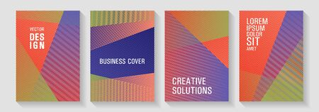 Brochure cover layouts vector geometrics. Dynamic technological wallpapers. Abstract business catalogs concept. Triangle element layers modern patterns. Covers set with logo identity spaces.