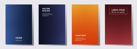 Tech covers linear design. Geometric lines patterns with edges, angles. Linear poster, flyer, banner vector backgrounds. Line stripes graphics, title elements. Annual report covers.