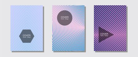 Geometric design templates for banners, covers. Minimalistic journals. Halftone lines music poster background. Minimalist geometry. Halftone brochure lines geometric design set. Illustration