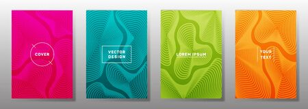 Colorful cover templates set. Fluid curve shapes geometric lines patterns. Geometric poster, flyer, banner vector backgrounds. Line shapes patterns, header elements. Annual report covers. Illustration