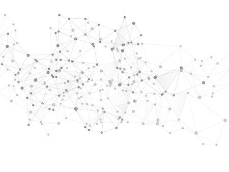 Block chain global network technology concept. Network nodes greyscale plexus background. Circle nodes and line elements. Molecule, atoms or neurons. Global data exchange blockchain vector.