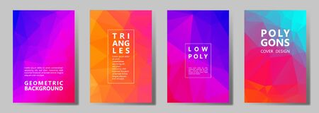 Facet triangles vivid brochure covers vector graphic design set. Crystal texture polygonal patterns. Gradient triangle polygons facet geometric abstract backgrounds.