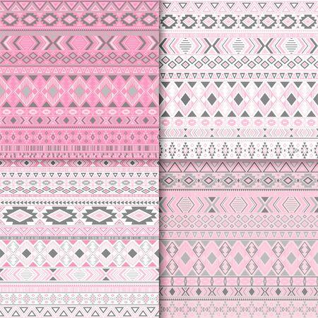 Aztec tribal ethnic motifs geometric patterns set. Unusual tribal motifs clothing fabric textile ethno prints traditional design. South american folk fashion prints.