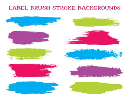 Decorative label brush stroke backgrounds, paint or ink smudges vector for tags and stamps design. Painted label backgrounds patch. Vector ink traces, color combinations. Ink dabs, cyan red splashes.