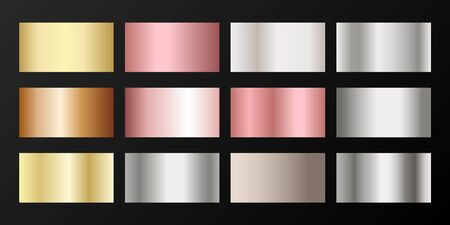 Metallic gradients vector set: golden, silver, platinum, bronze, pink gold. Graphic elements of gold, bronze and silver gradients for award medals or coins design.