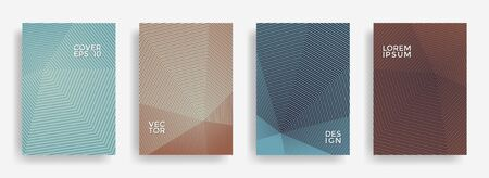 Educational annual report design vector collection. Halftone stripes texture cover page layout templates set. Report covers geometric design, business booklet pages corporate templates. Illustration