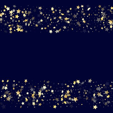 Gold falling star sparkle elements of glitter gradient vector background. Glossy confetti gold stars falling glitter gradient sparkles on dark blue. Birthday starburst scatter backdrop.