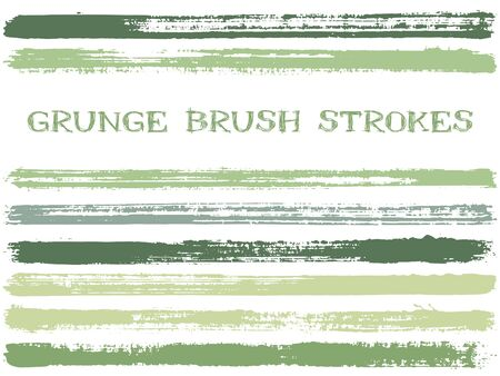 ink brush strokes isolated design elements. Set of paint lines. Dry stripes, textured paintbrush stroke shapes. Collection of ink brushes, stripes isolated on white, vector paint samples. Illustration