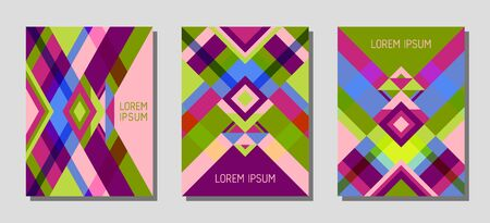 Collection of cover page layouts, vector templates geometric design with triangles and stripes. Folklore mexican motifs. Bauhaus pattern vector covers design. Modern rhombus stripe triangle shapes. Illustration