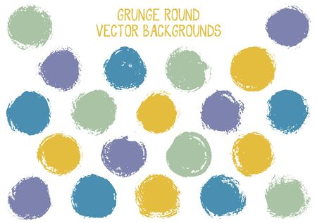 Vector grunge circles design. Dirty post stamp texture circle scratched label backgrounds. Circular icon, chalk logo shape, oval button elements. Grunge round shape banner backgrounds set.
