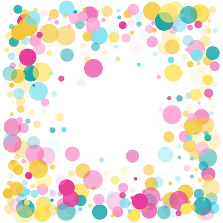 Memphis round confetti trendy background in cyan, magenta and gold on white.  Childish pattern vector, childrens party birthday celebration background.  Holiday confetti circles in memphis style.