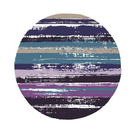 Abrupt circle vector geometric shape with stripes texture of paint horizontal lines. Planet concept with old paint texture. Label round shape logotype circle with grunge stripes background. Illustration