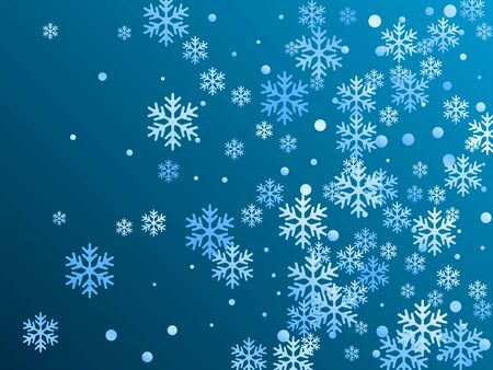 Crystal snowflake and circle shapes vector backdrop. Macro winter snow confetti scatter flyer background. Falling colorful gradient snow flakes background, winter water crystals vector.