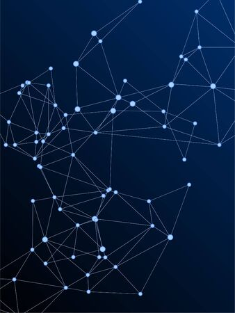 Block chain global network technology concept. Network nodes plexus dark blue background. Chemical formula abstraction. Fractal hub nodes connected by lines. Global data exchange blockchain vector.