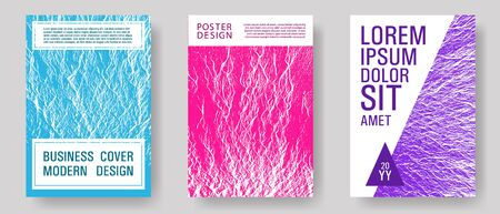 Flyer poster vector graphic design set. Teal pink purple waves texture backdrops. Fluid buzzing wavy noise ripple texture. Modern poster, cover or flyer templates. Tect newsletter cover templates.