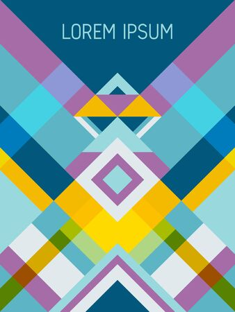Chequered cover page layout vector template geometric design with triangles and stripes pattern. Carnival mexican motifs. Striped bauhaus pattern vector cover design. Trendy geometry.